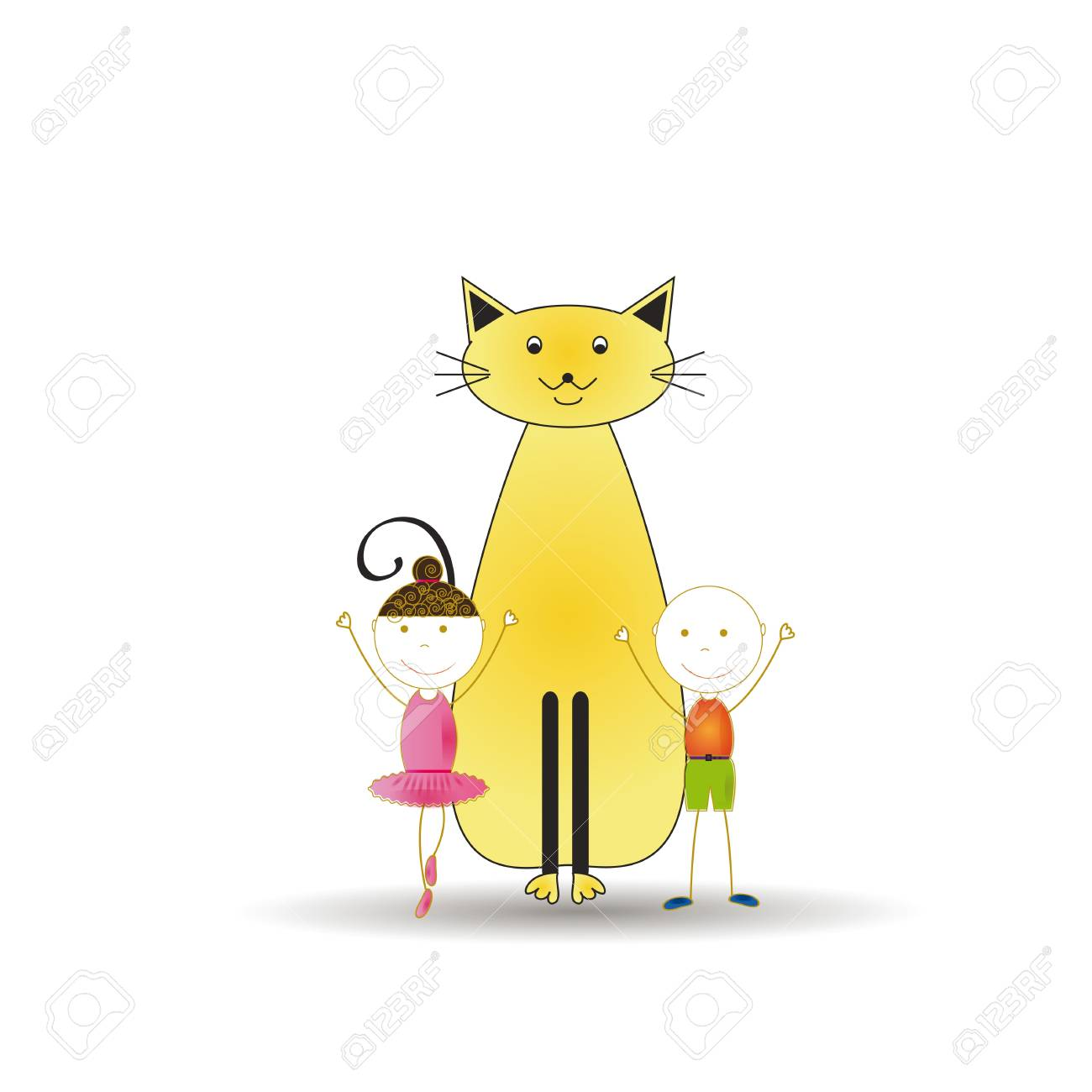 Abstract and cute colorful kids with cat Stock Vector - 16553219