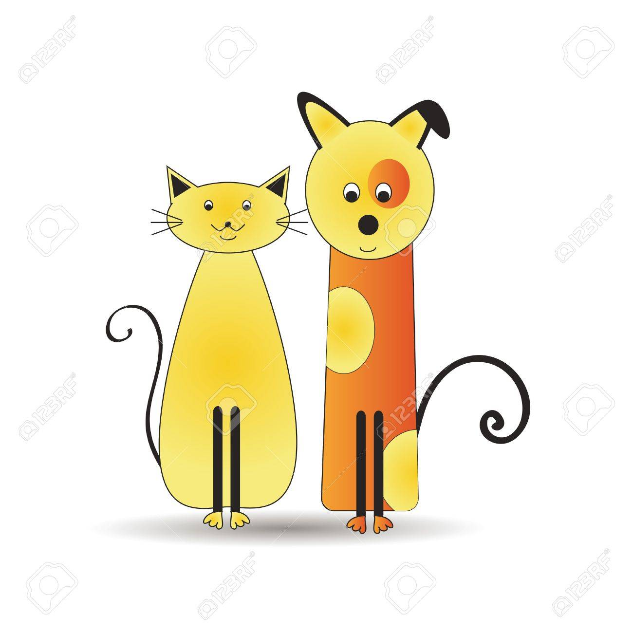 Abstract and cute colorful cats and dog Stock Vector - 16553208