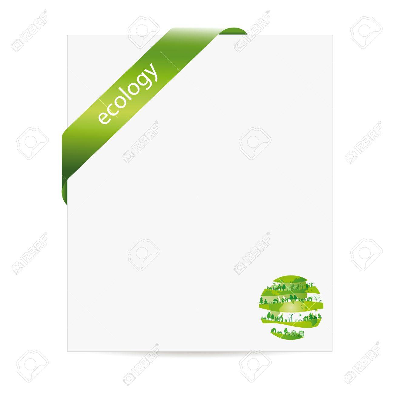 Cute and green ecology background with paper Stock Vector - 16840226