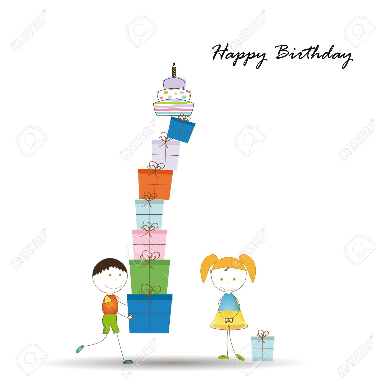 Cute card on birthday with colorful presents Stock Vector - 16840156