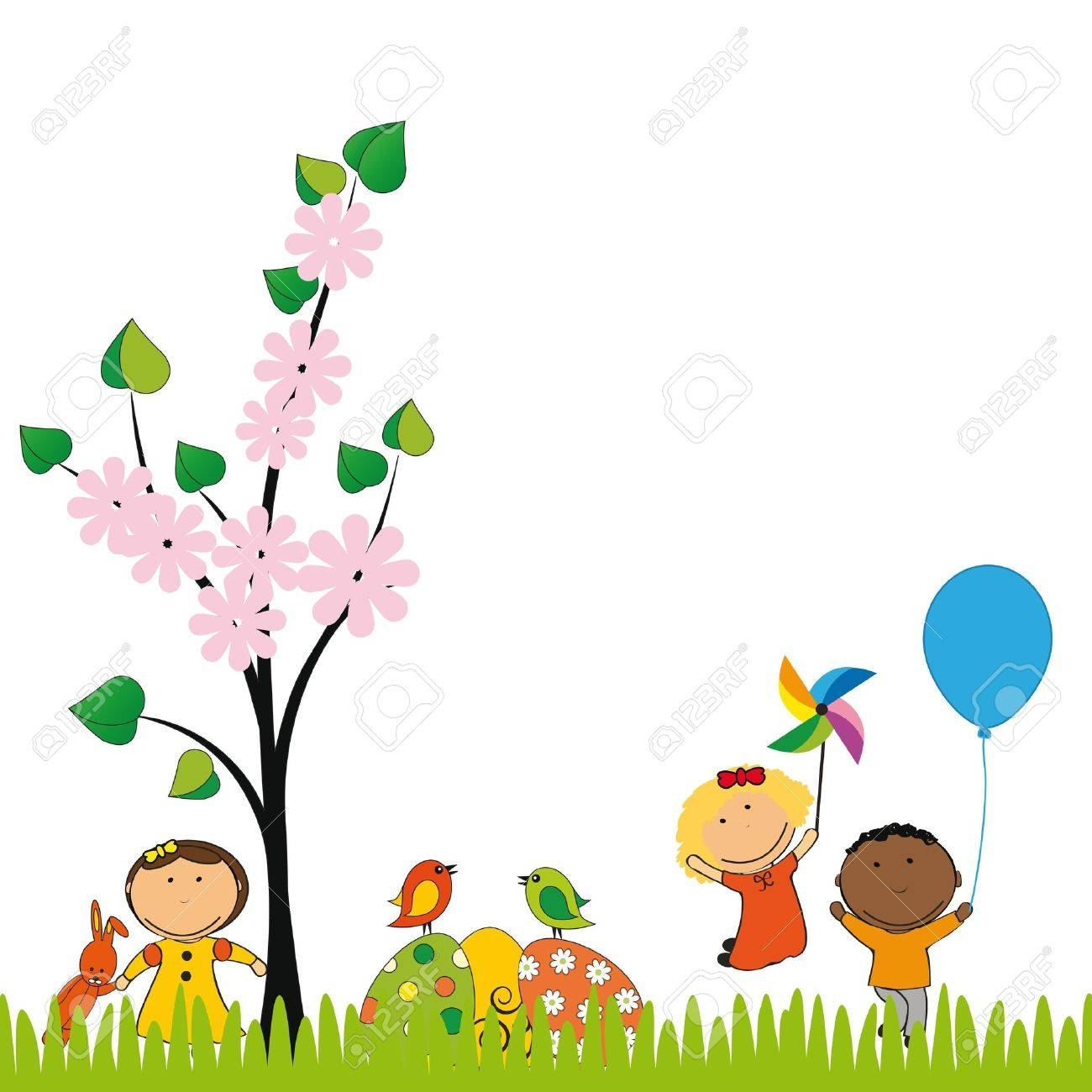 cute easter card with kids and eggs stock vector 17223044 - Spring Pictures For Kids