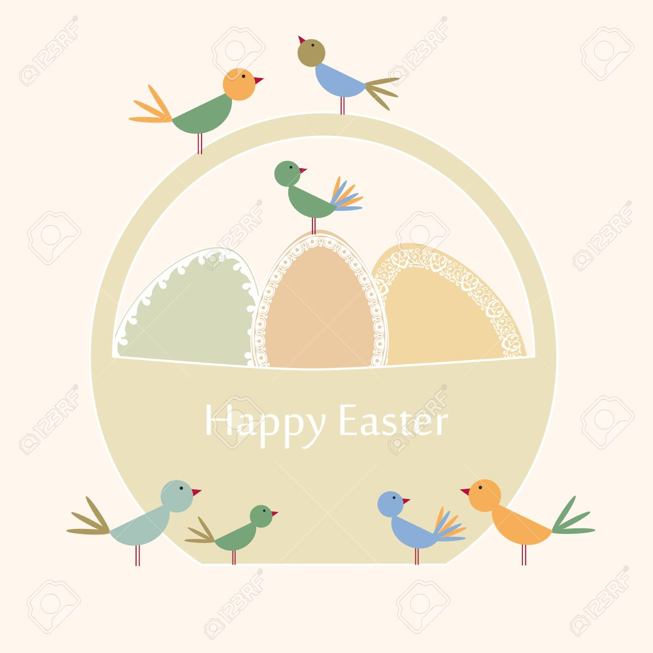 Abstract easter card with eggs and birds Stock Vector - 17223055