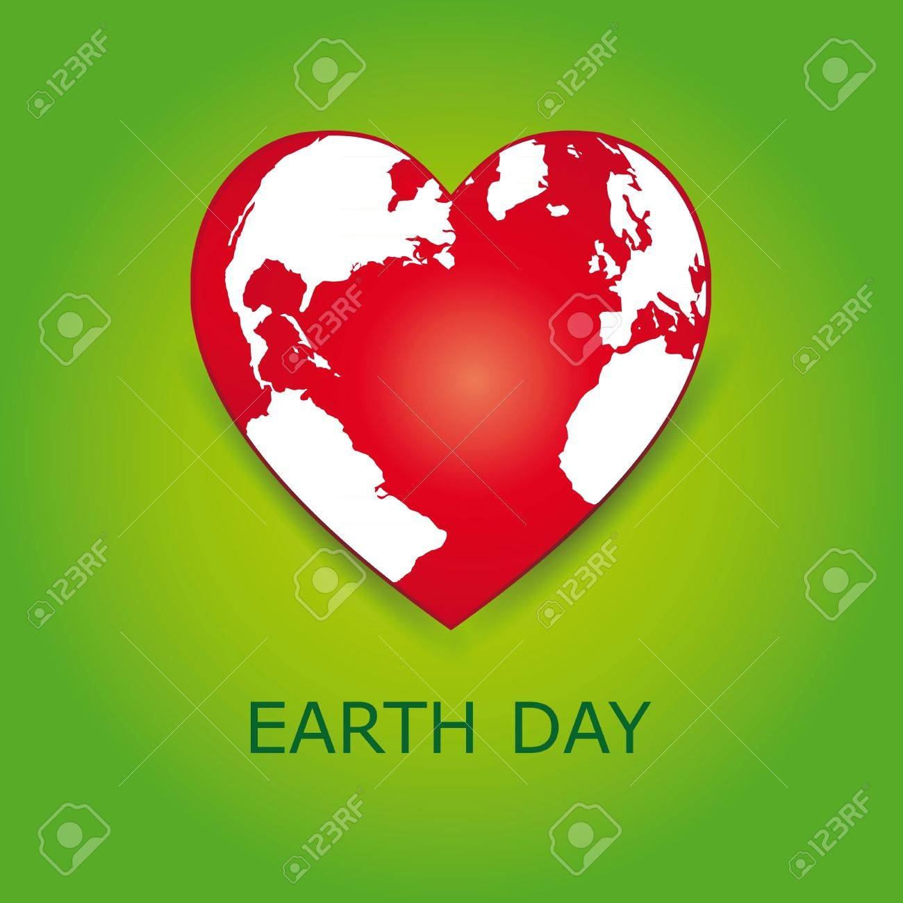 Abstract red heart together with green earth. Stock Vector - 18465681