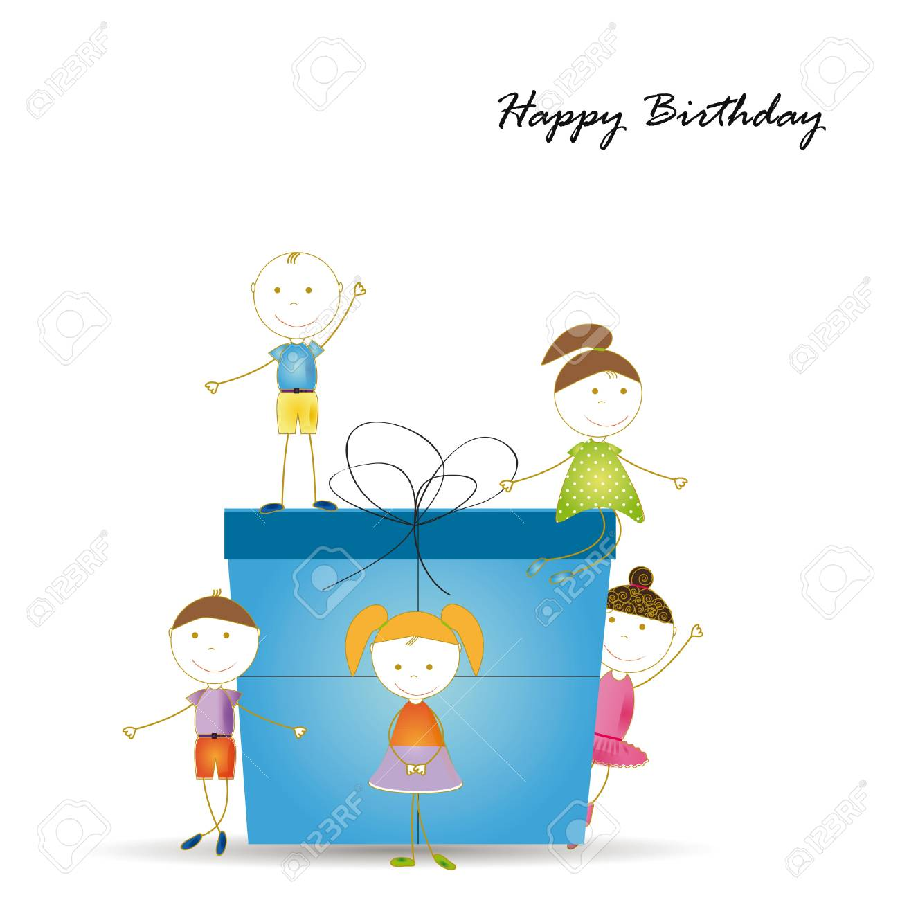 Happy and cute girls and boys with a big present Stock Vector - 19594693
