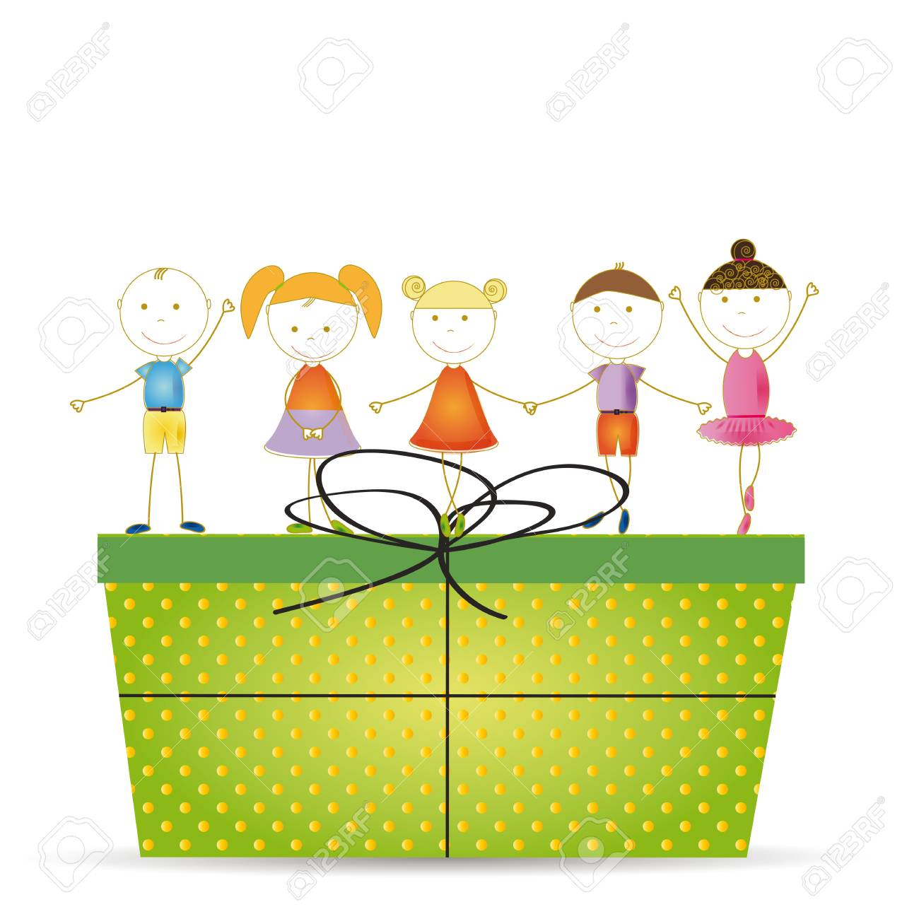 Happy and cute girls and boys with a big present Stock Vector - 19594698