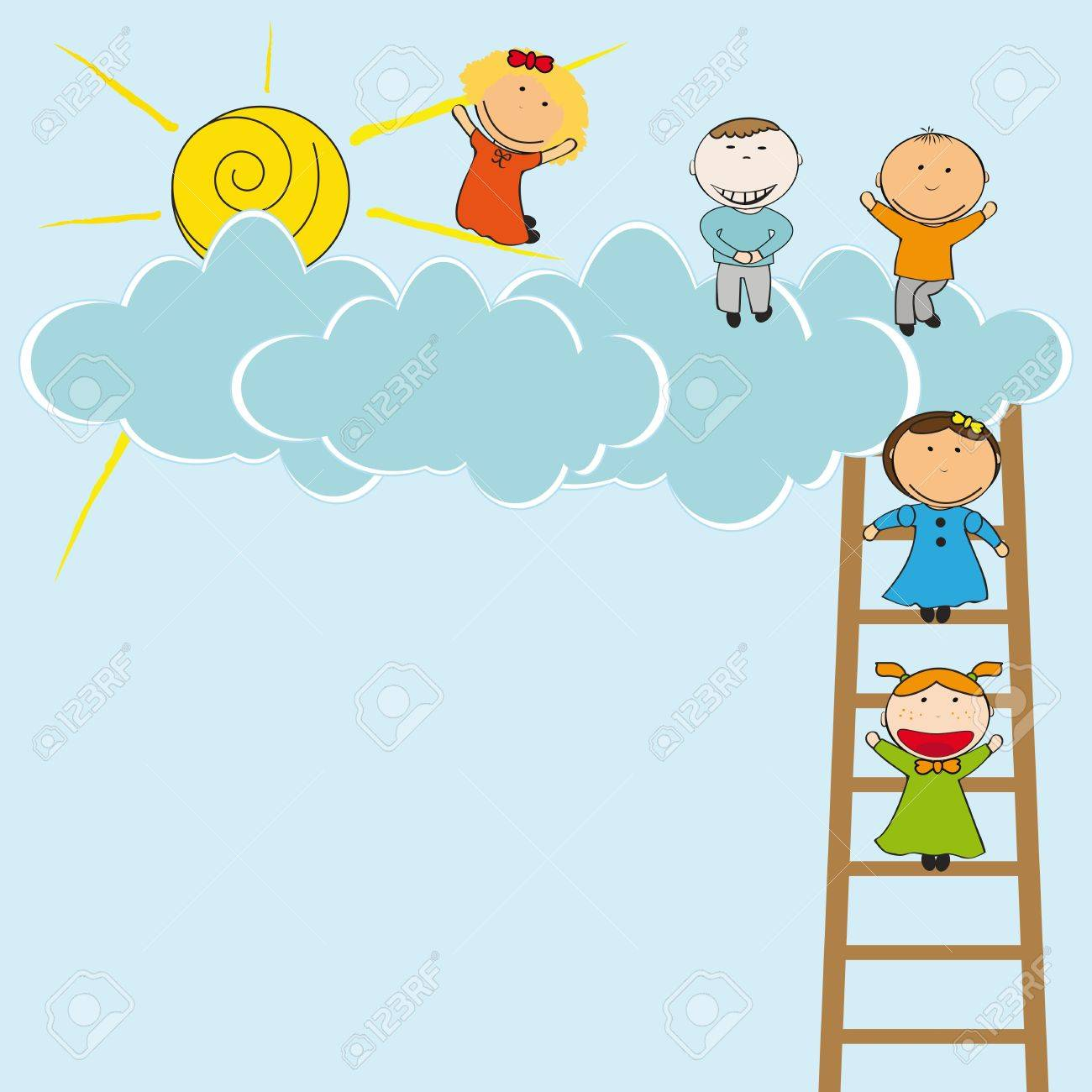 Happy and cute girls and boys with clouds Stock Vector - 19594731