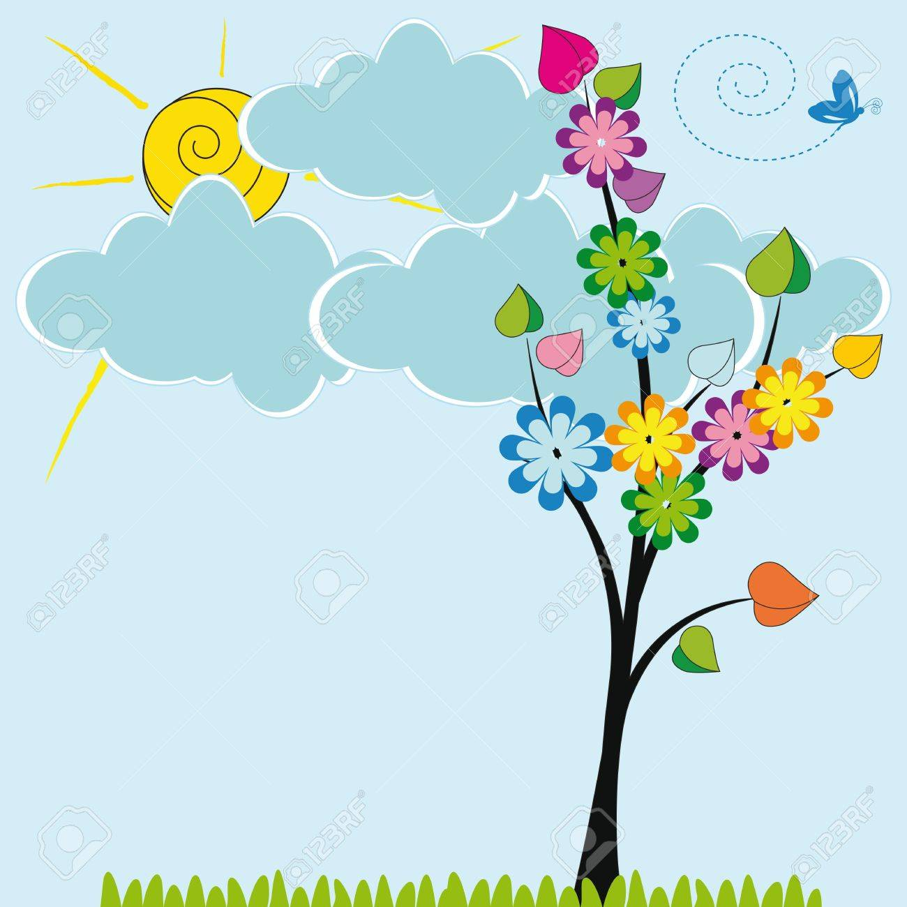 Cute card with funny trees and sun shine Stock Vector - 19594729