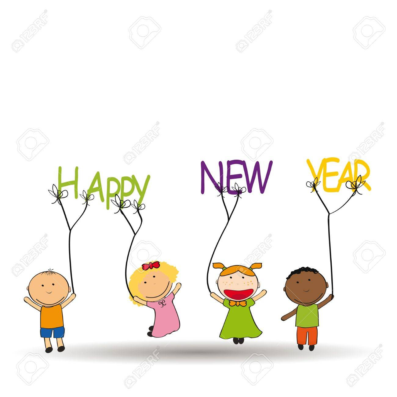 Cute and colorful card New Year 2014 Stock Vector - 20734605