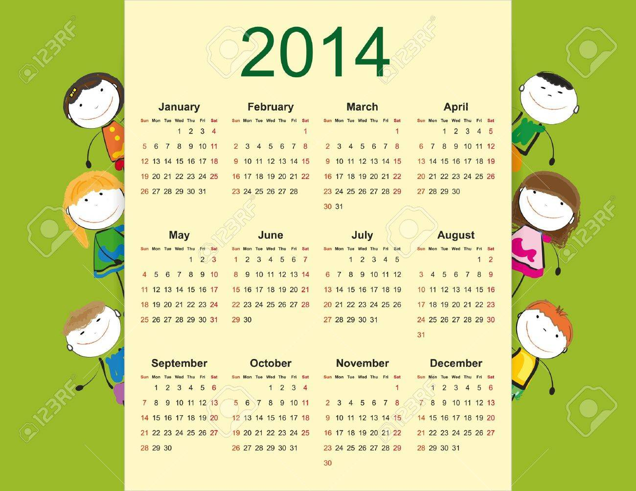Simple and colorful calendar on 2014 year with happy kids Stock Vector - 20919813