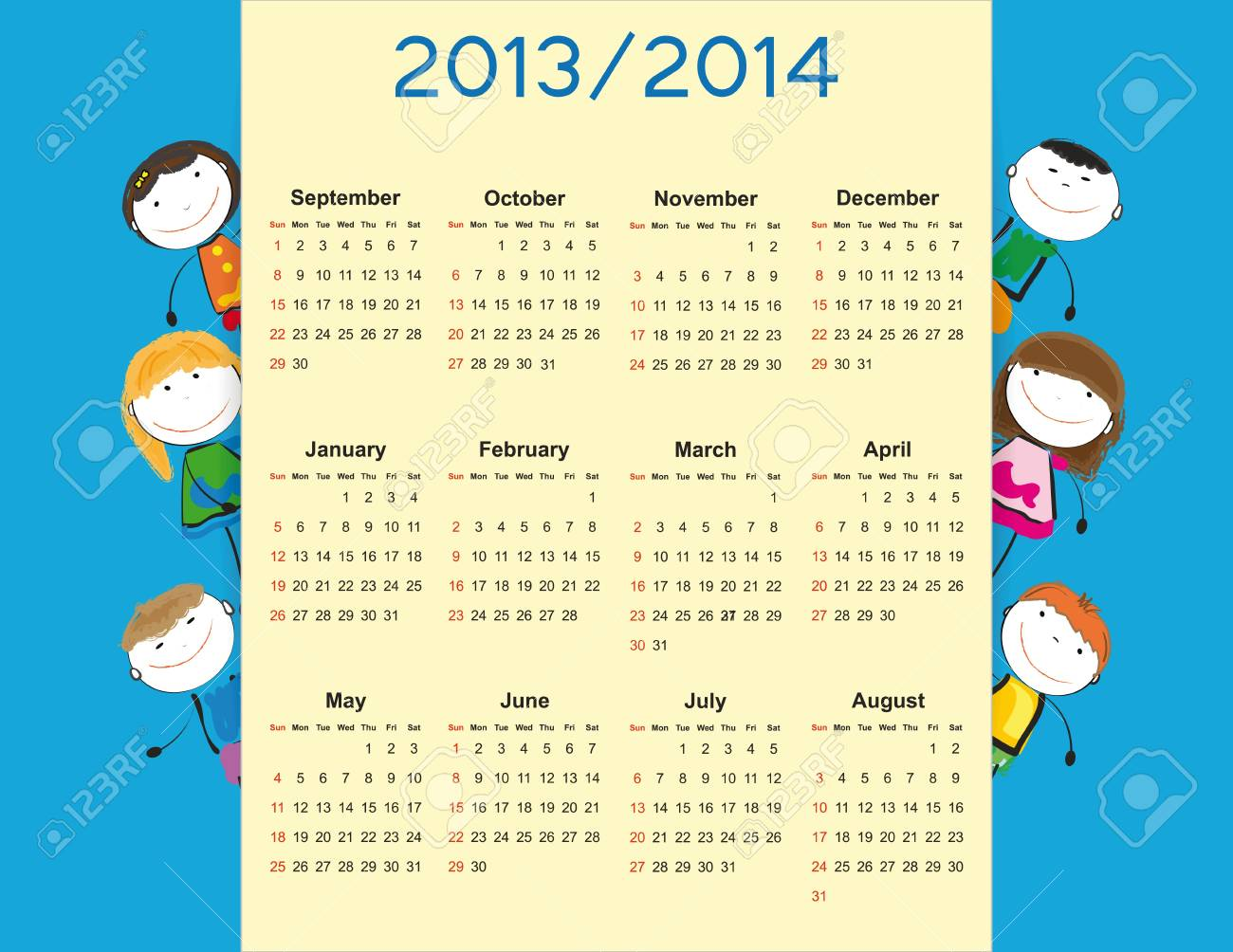 Simple calendar on new school year 2013 and 2014 with happy kids Stock Vector - 20919815