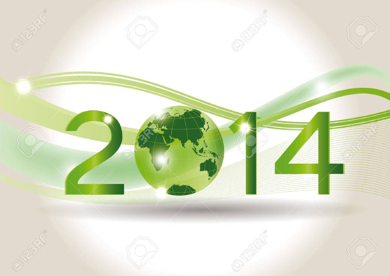 Cute card on 2014 year with green globe Stock Vector - 20919849