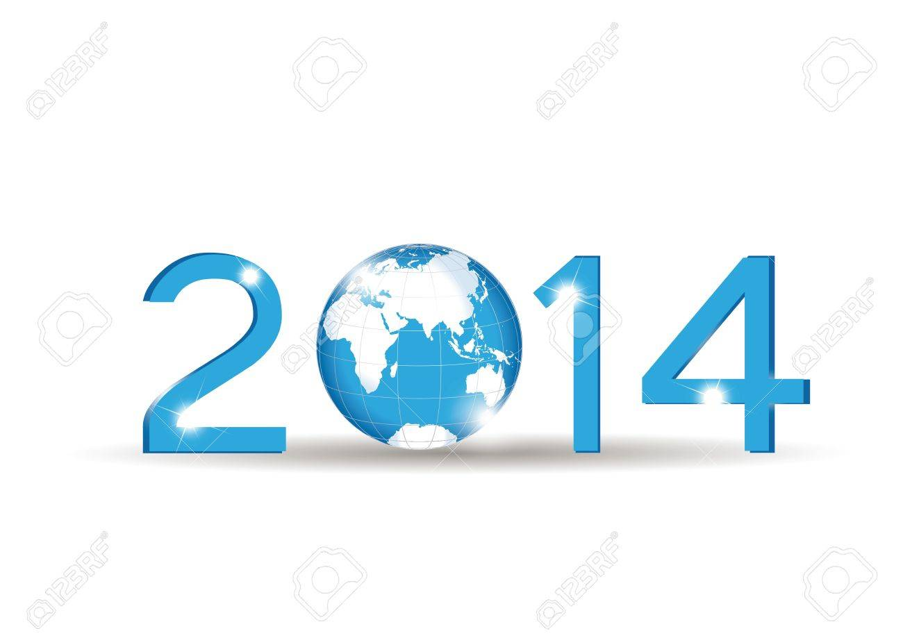 Cute blue card on 2014 year with globe Stock Vector - 20919853