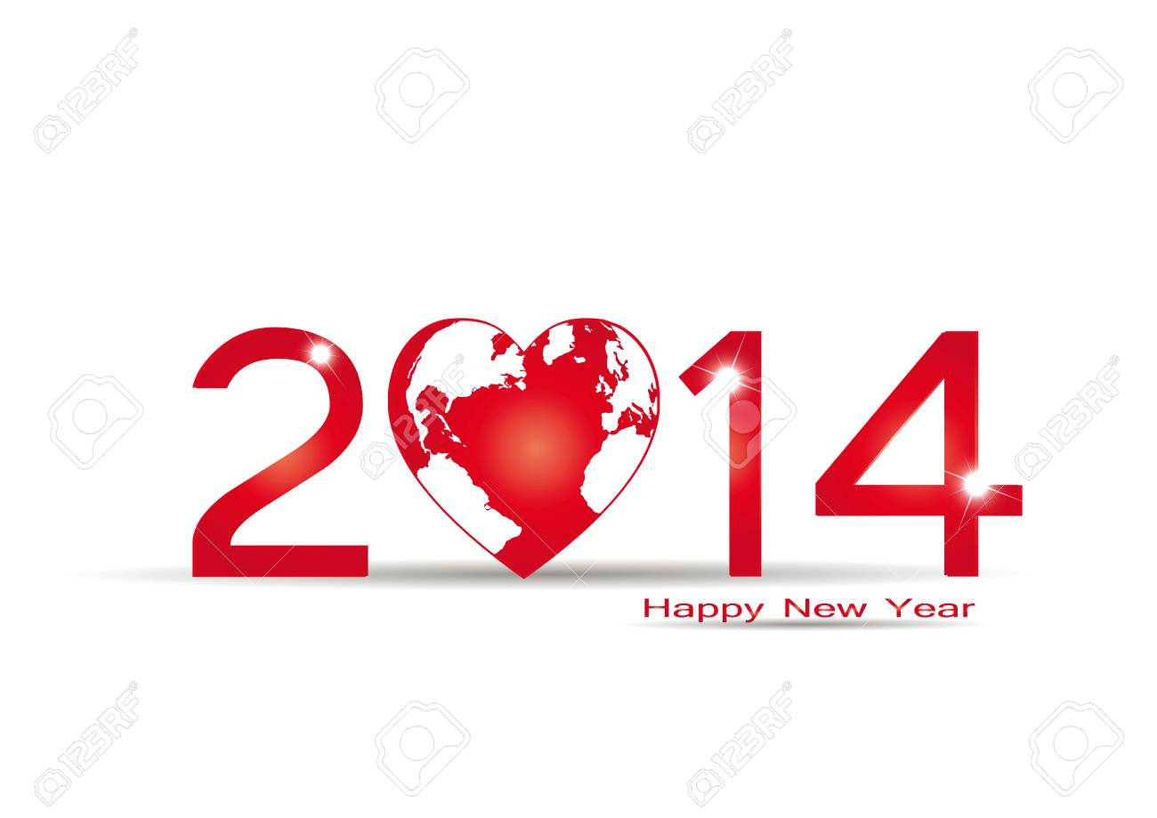 Cute card on 2014 year with red heart Stock Vector - 20919864