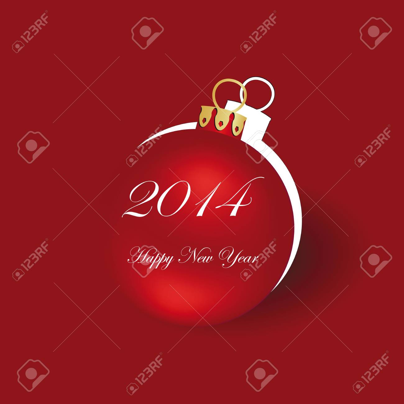 Cute and simple card on New Year 2014 Stock Vector - 21316909
