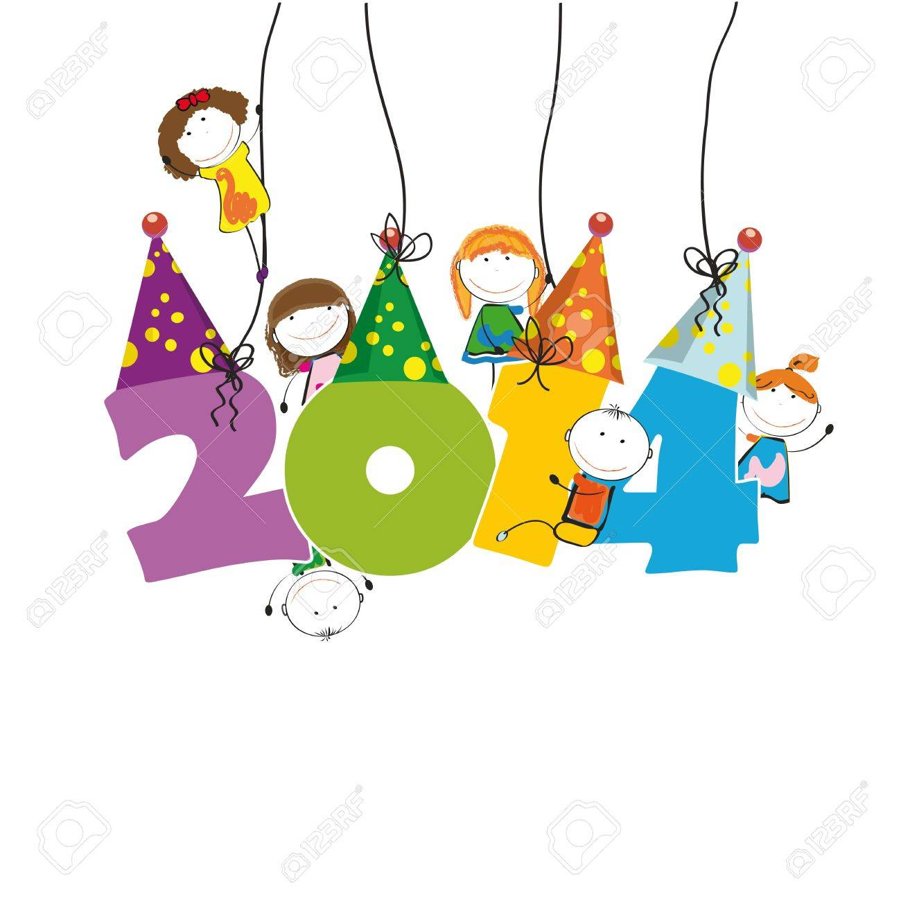 Cute and colorful card on New Year 2014 Stock Vector - 21600985