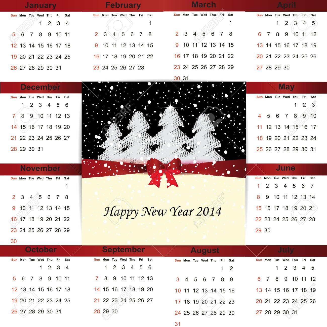 Cute and simple calendar on 2014 year Stock Vector - 22125846