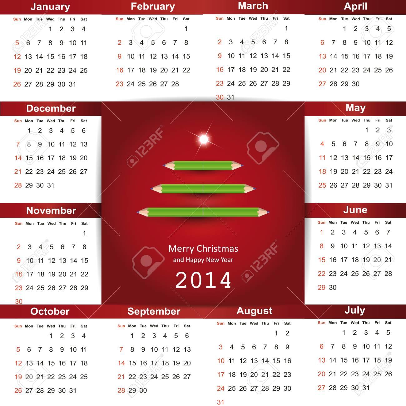 Cute and simple calendar on 2014 year Stock Vector - 22125847