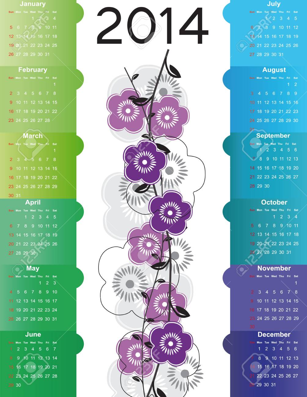 Cute and simple calendar on 2014 year Stock Vector - 22125903