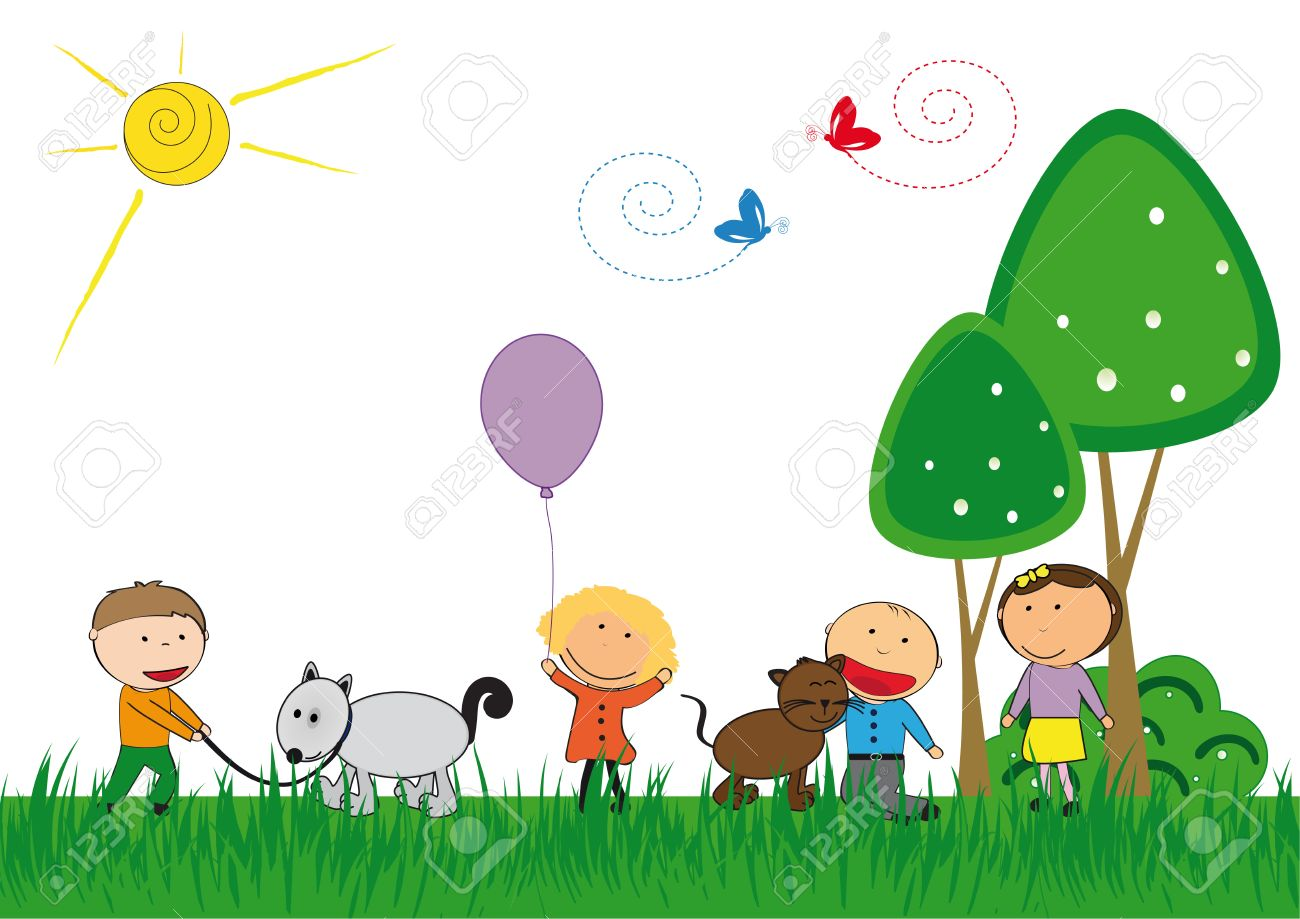 Happy kids and cat and dog playing outside Stock Vector - 22962504