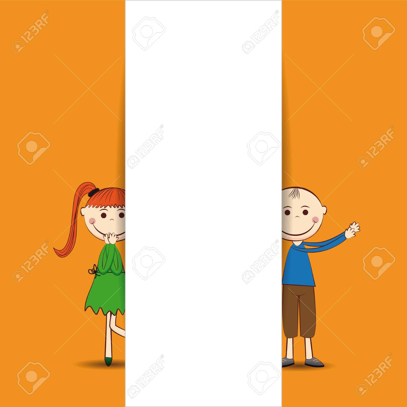 Small and smile boy and girl with banner Stock Vector - 24814455