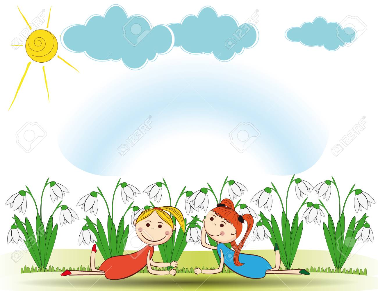Small and smile girls in spring garden Stock Vector - 24827615