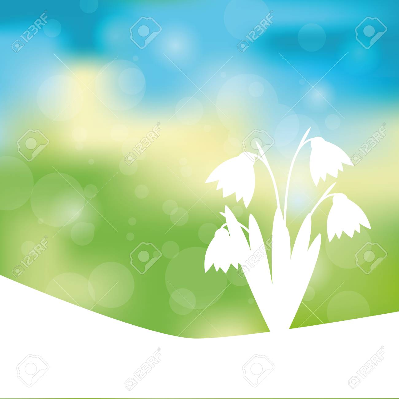 Green, blue and yellow spring with sunlight Stock Vector - 24913964