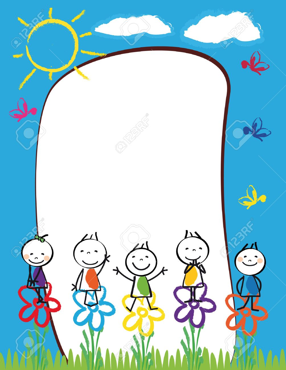 Cute kids frame with happy boys and girls Stock Vector - 24959504