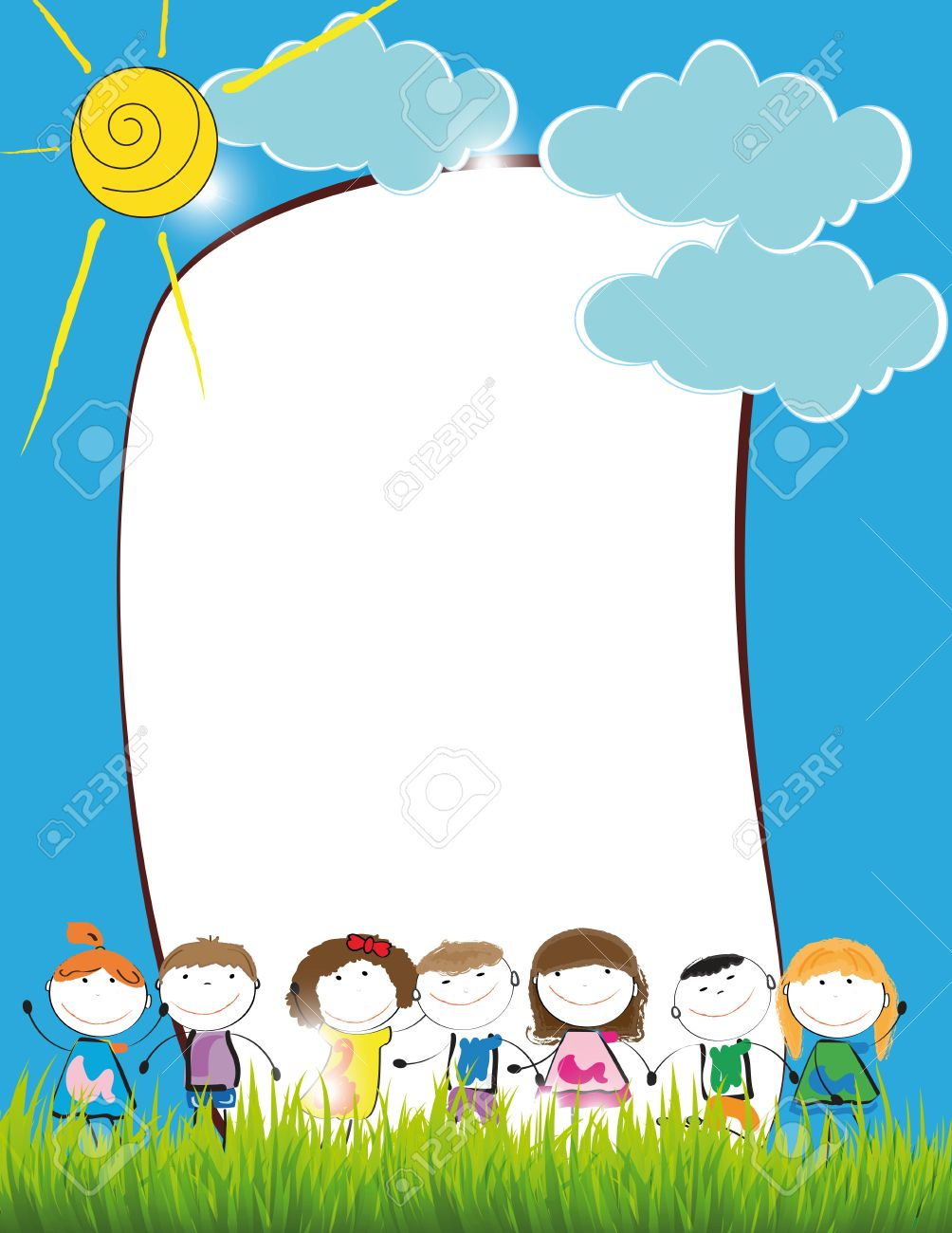 Cute Kids Frame With Happy Boys And Girls Royalty Free Cliparts ...