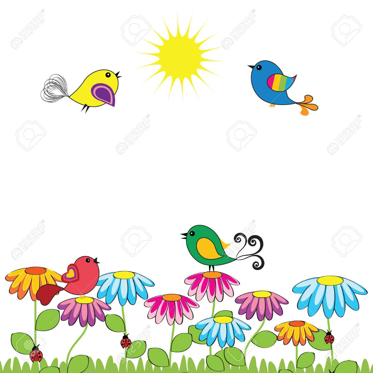 Colorful and cute birds on the flowers Stock Vector - 26380057