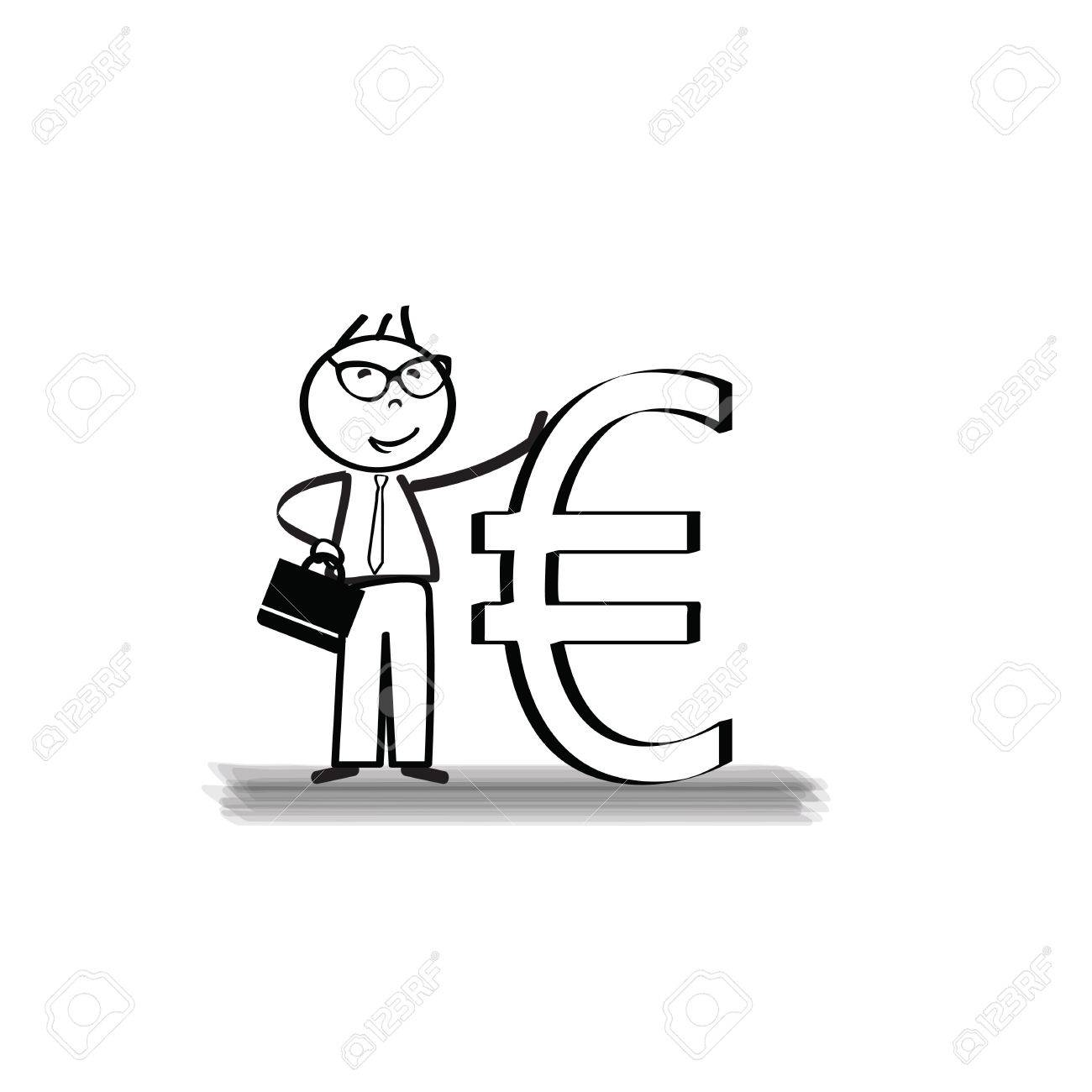 Young And Successful Businessman Cartoon With Euro Sign Royalty Free