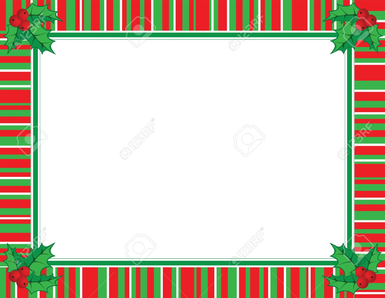 Cute Christmas Frame In Red And Green Color Stock Vector