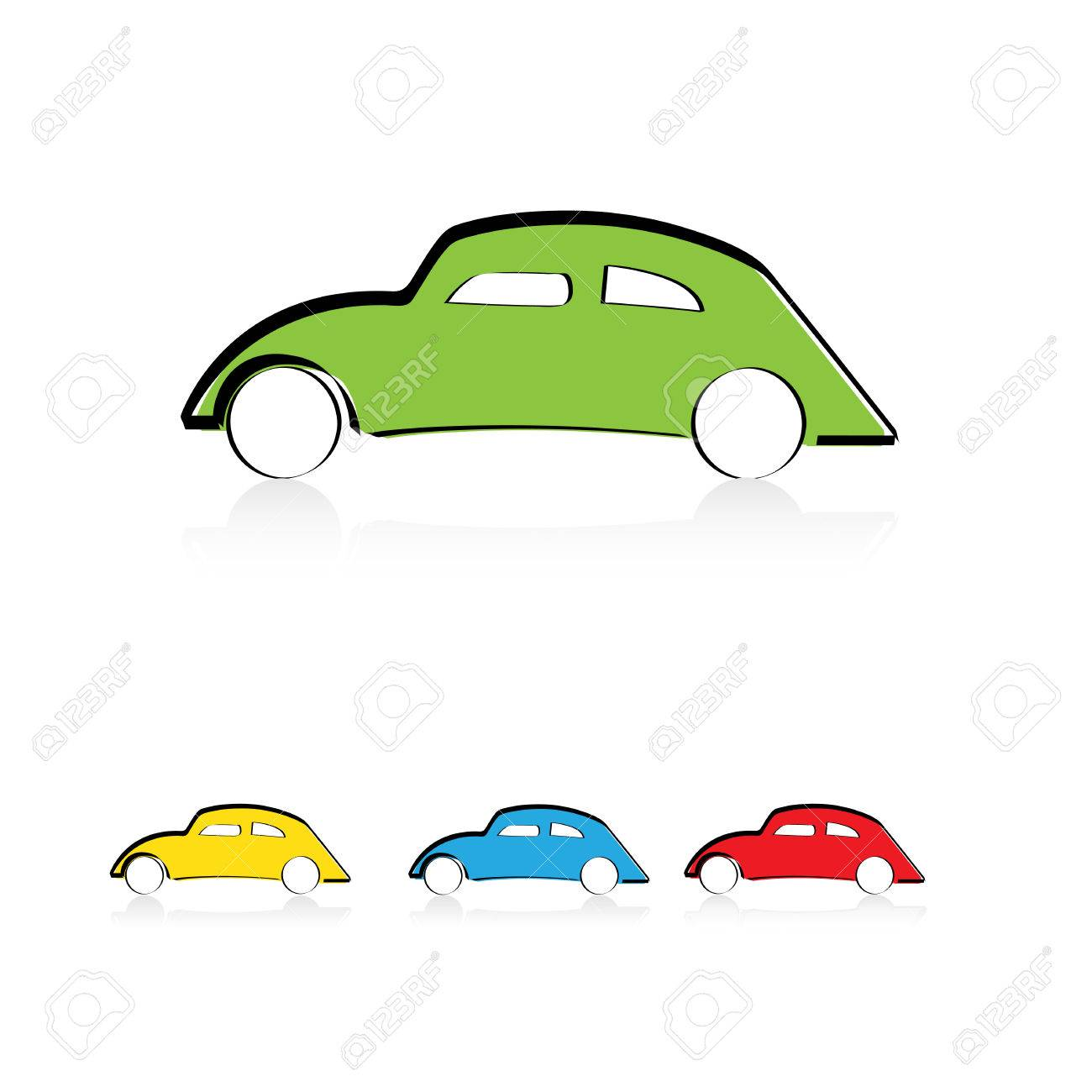Cute Cartoon Car In Color Green Blue And Red Royalty Free Cliparts