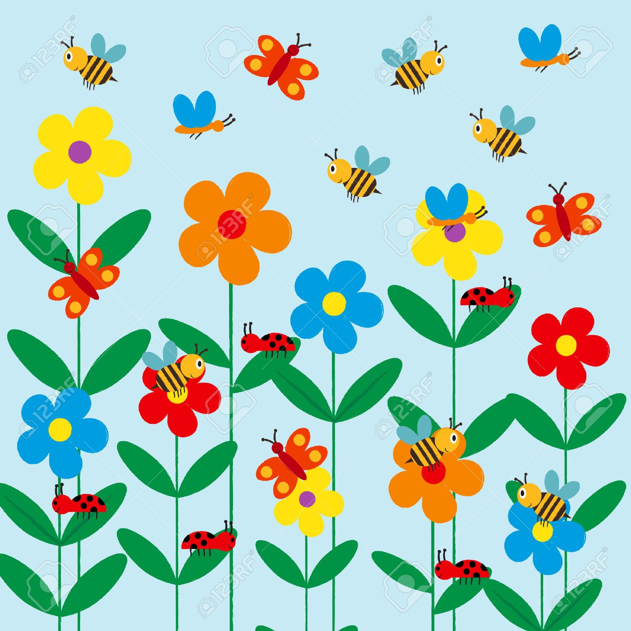 Colorful And Cute Kids Background With Flowers, Bee And Butterfly ...
