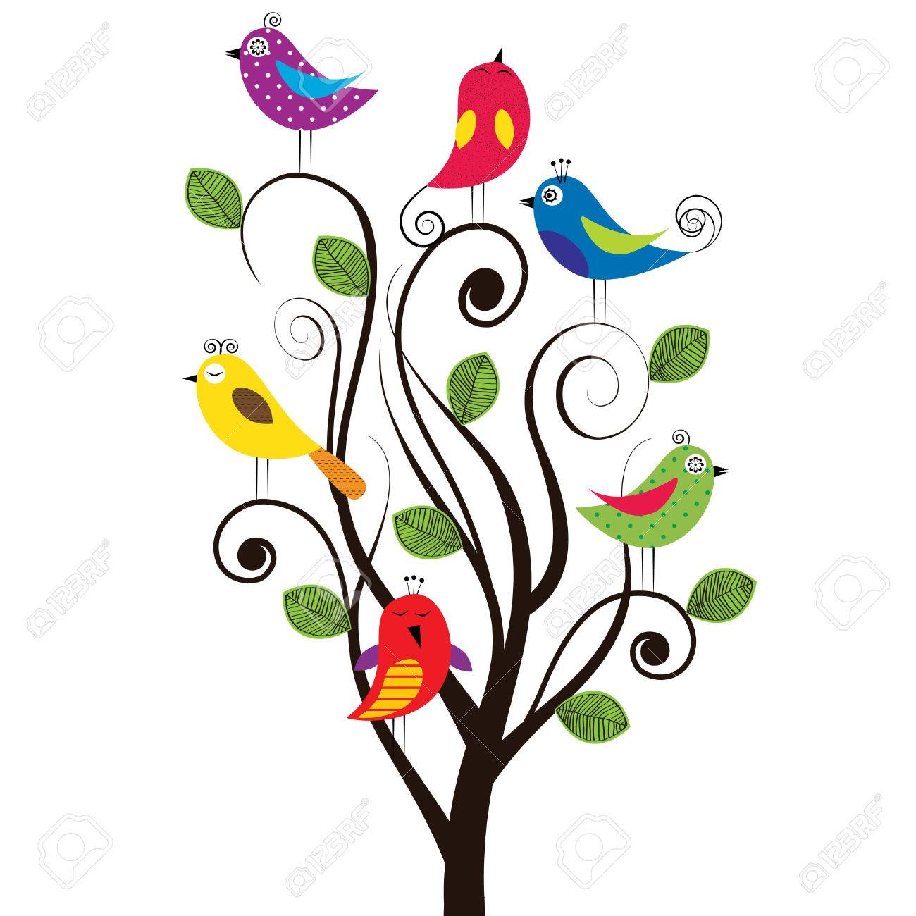 spring tree with colorful and funny birds royalty free cliparts rh 123rf com spring vector images spring vector art