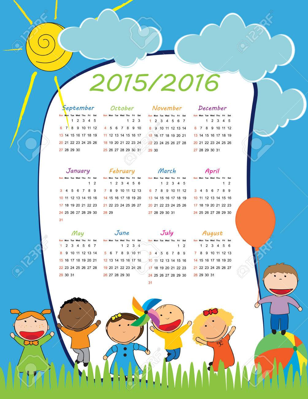 school calendar on new year school from 2015 to 2016 year stock vector 38210905