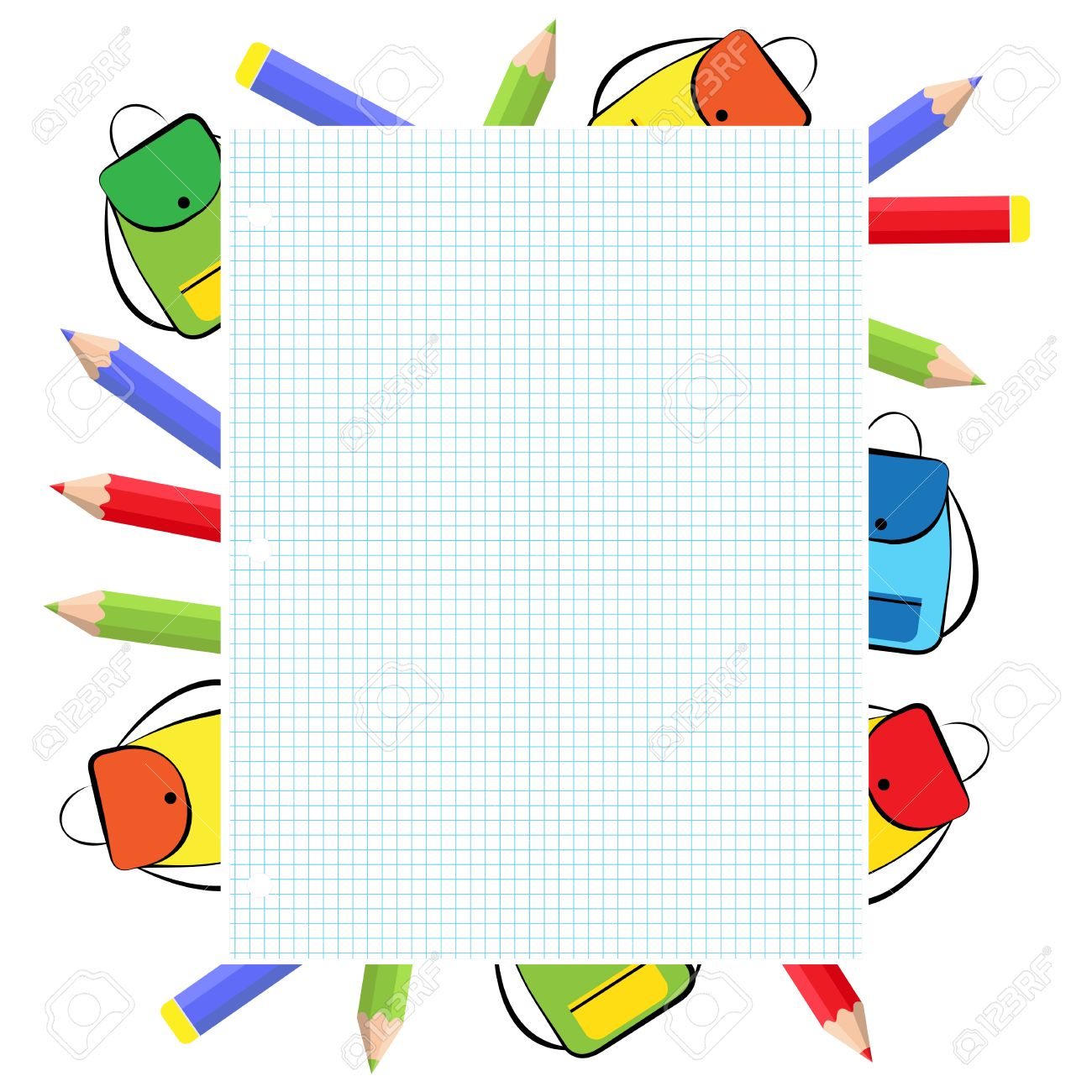 4b01d70ef4e2 School frame with colorful crayons and backpack Stock Vector - 40566766