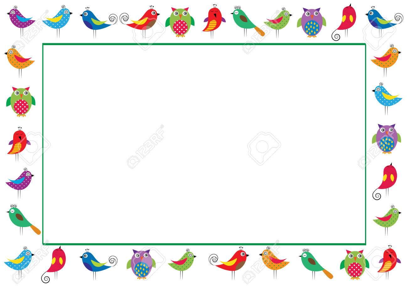 Marco Lindo Y Abstracto Con Los Pájaros Coloridos Ilustraciones ...