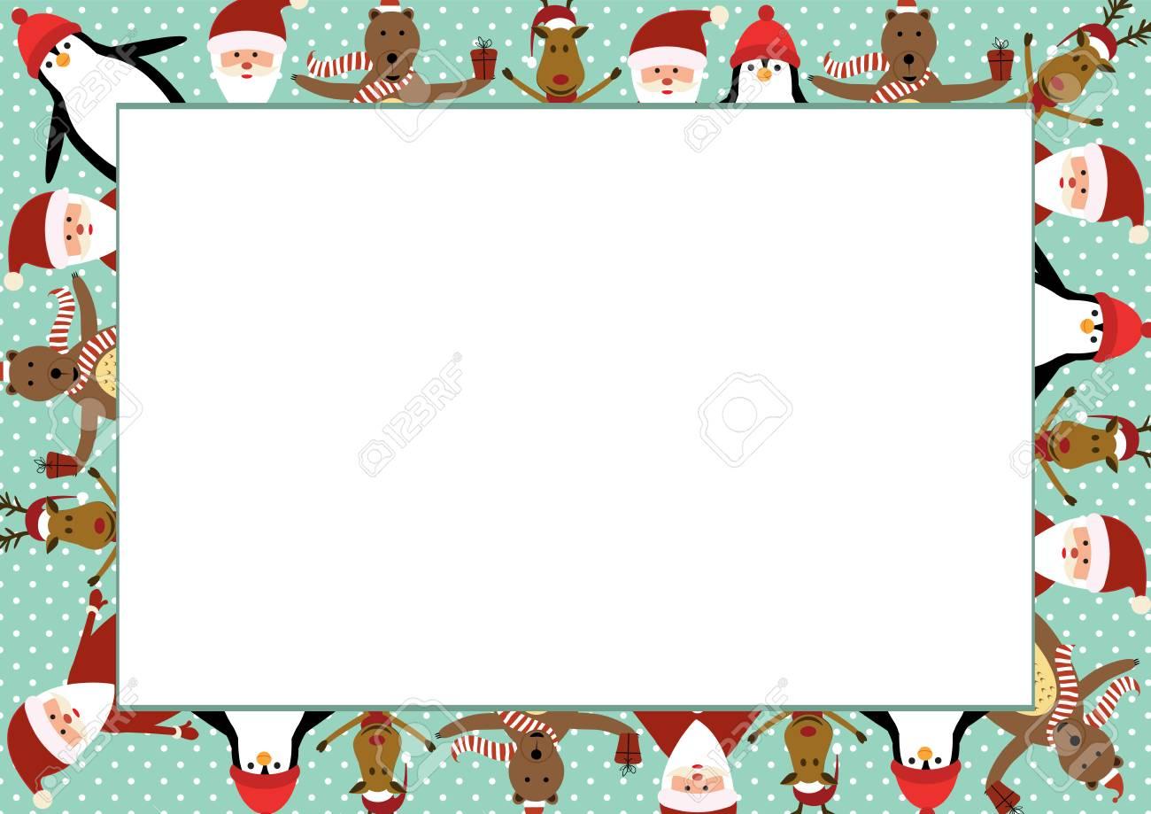 Marco Lindo De La Navidad Con Santa Claus, Renos, Osos Y Pingüinos ...