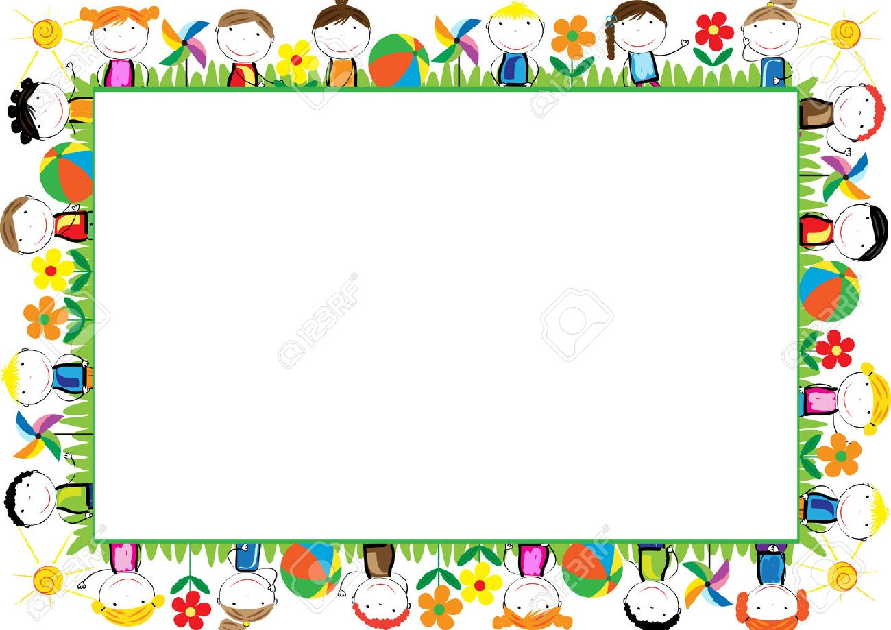 Colored Frame For Children With Happy Boys And Girls Royalty Free ...