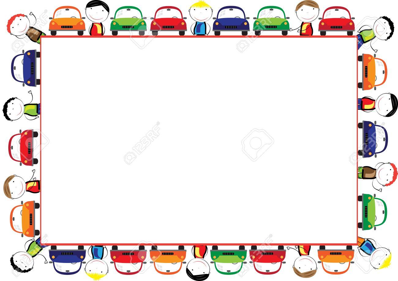 Marco De Color Para Los Niños Con Los Coches Ilustraciones ...