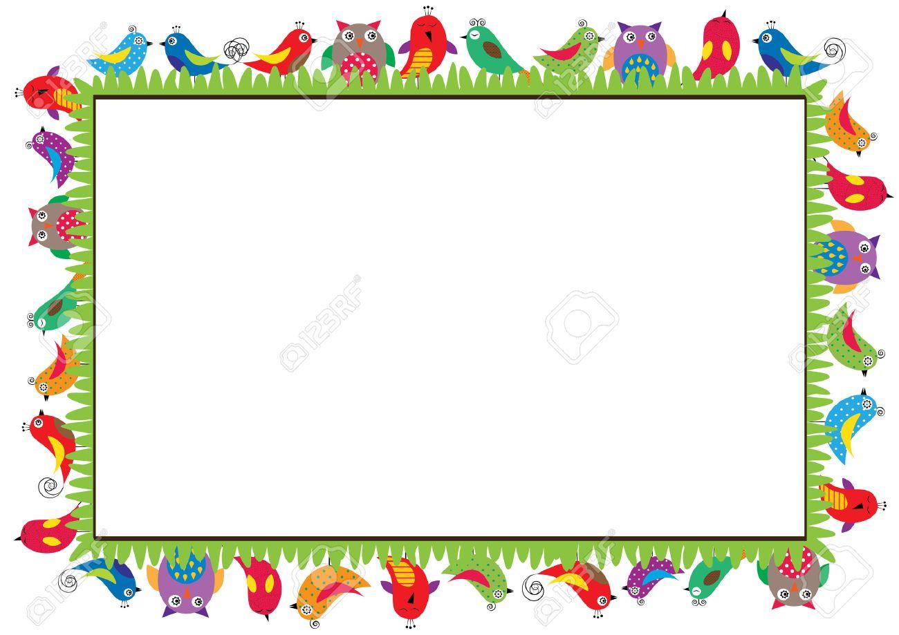 Farbige Rahmen Für Kinder Mit Vögeln Lizenzfrei Nutzbare ...