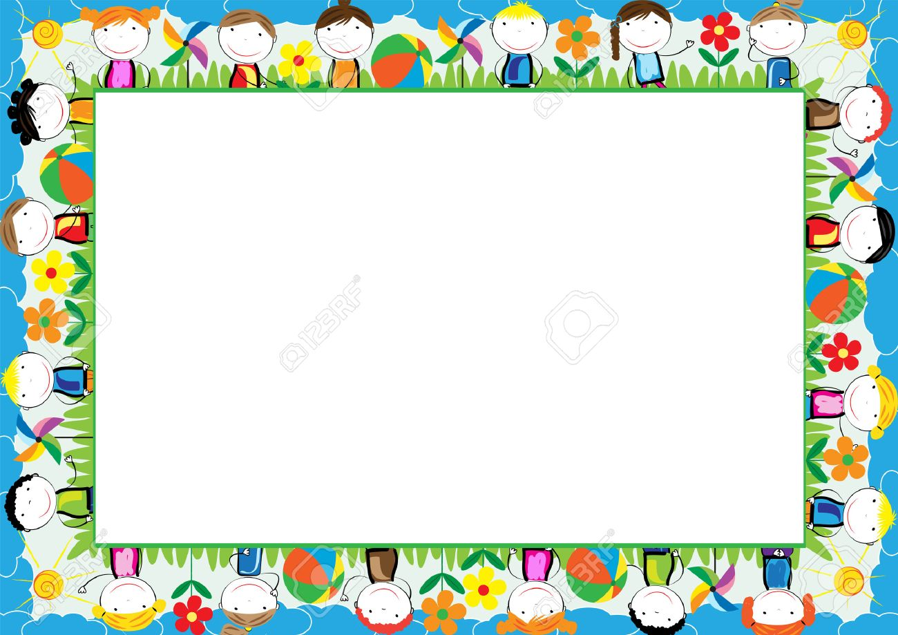 Colored Frame For Kids With Happy Boys And Girls Royalty Free ...
