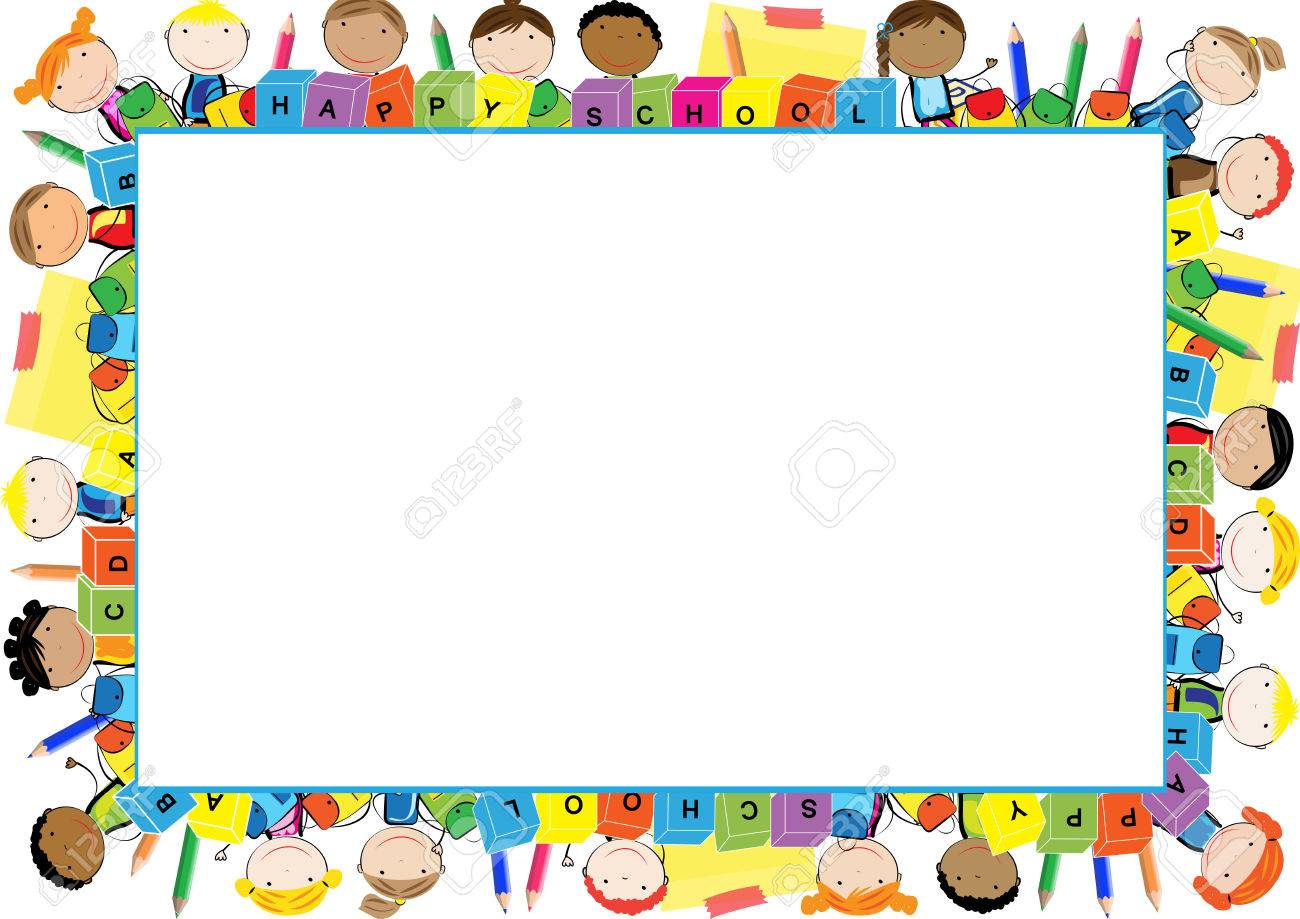 Marco De Color Para El Año Escolar Ilustraciones Vectoriales, Clip ...