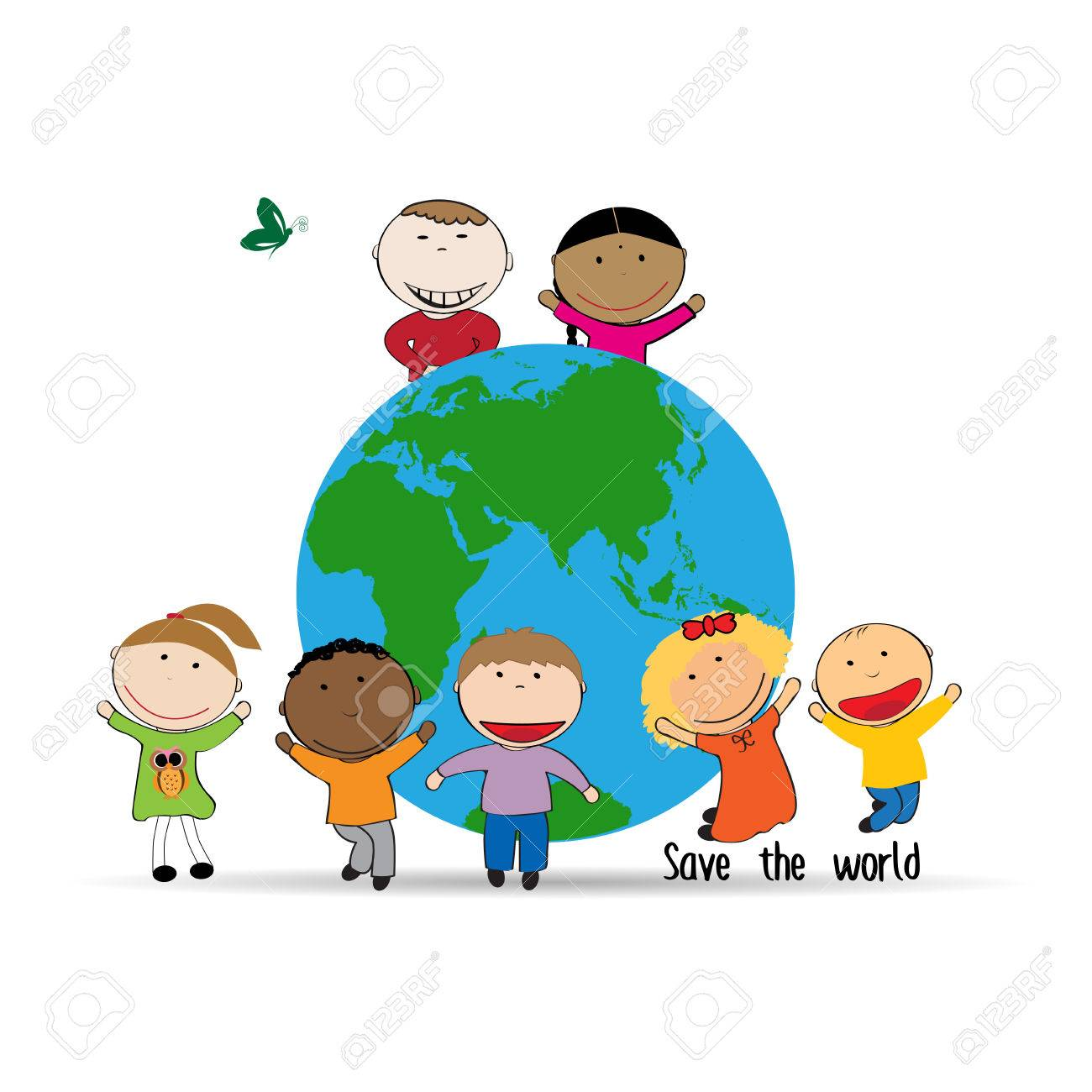 Happy and cute kids with globe, abstract drawing Stock Vector - 69058186