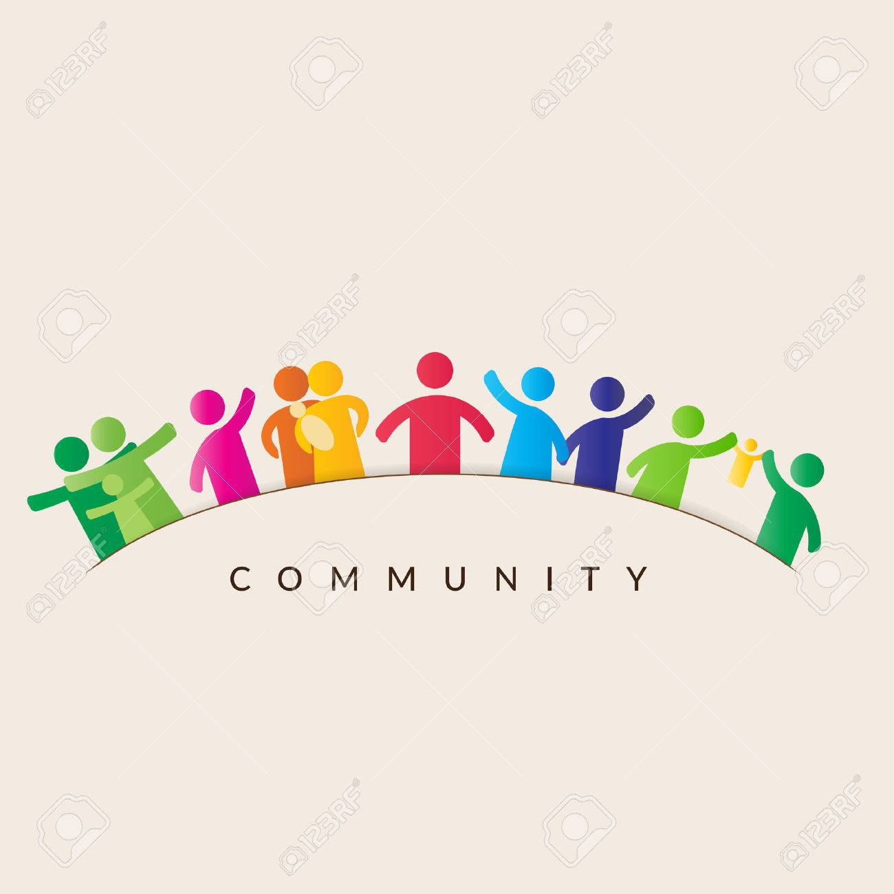 Community concept - pictogram showing figures happy family - 69824278