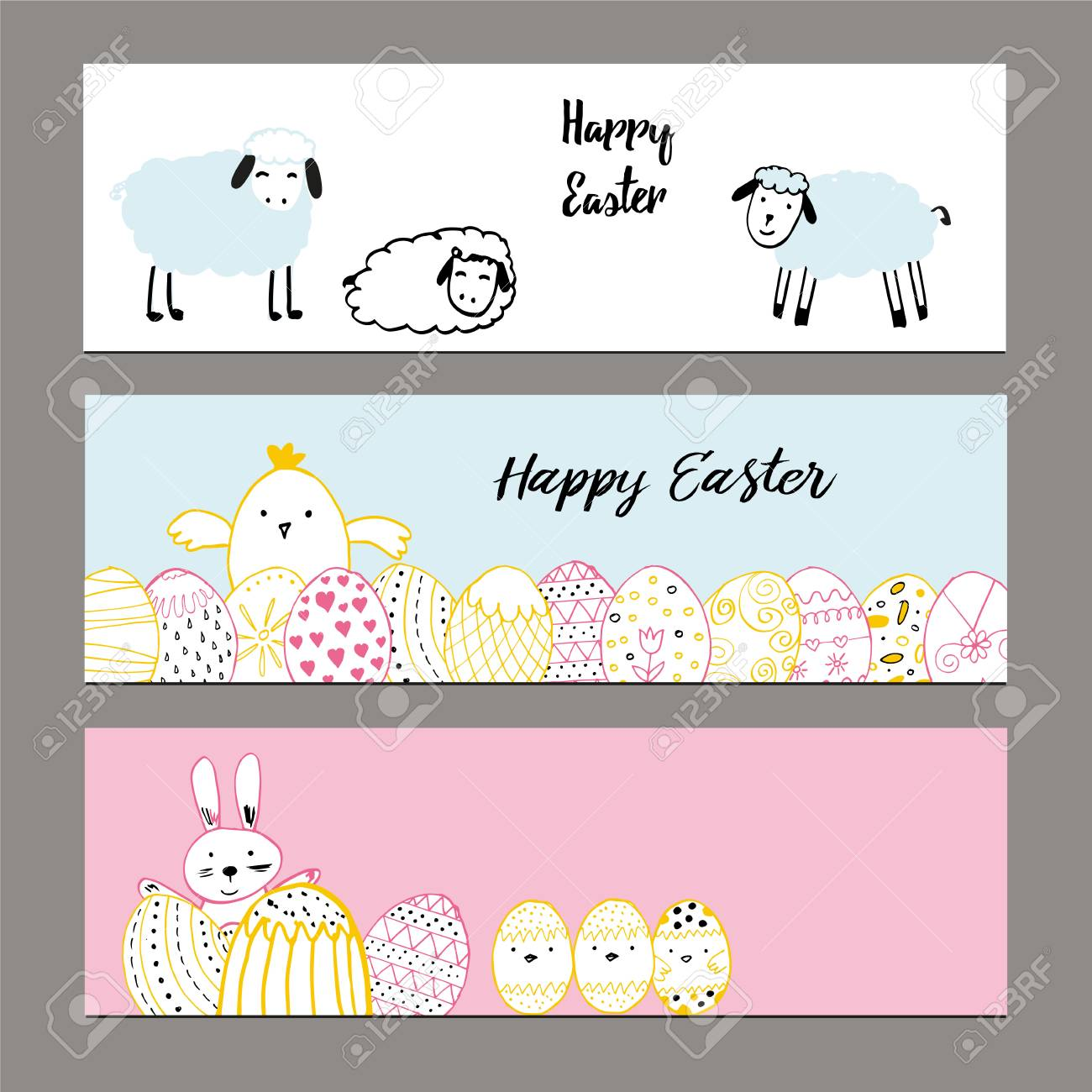cute banners with hand drawn easter illustrations royalty free
