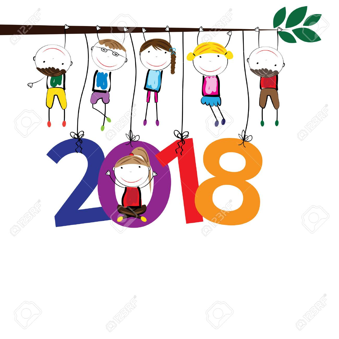 colorful card for new year 2018 with happy kids stock vector 71296479