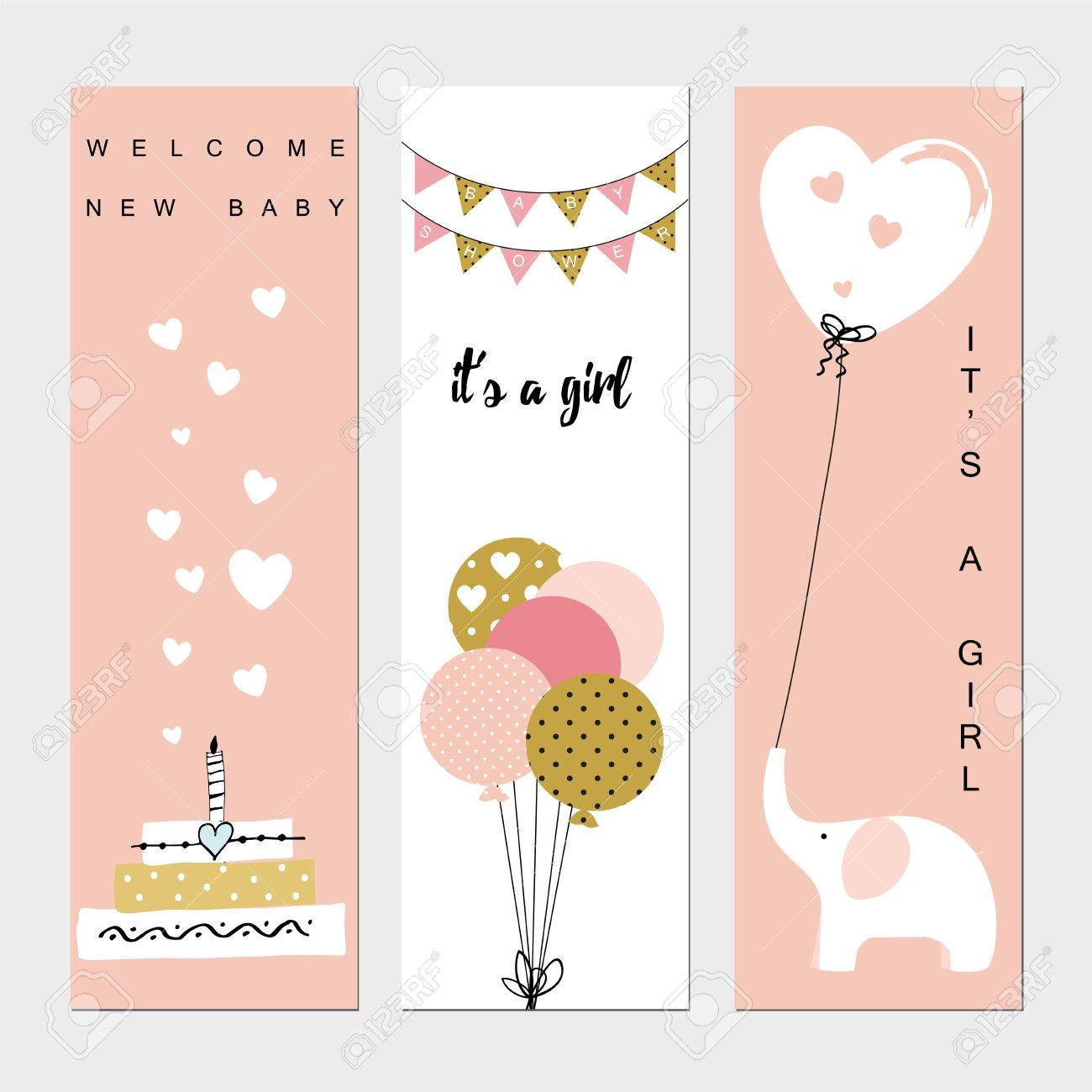 baby shower banners for the baby girl royalty free cliparts vectors