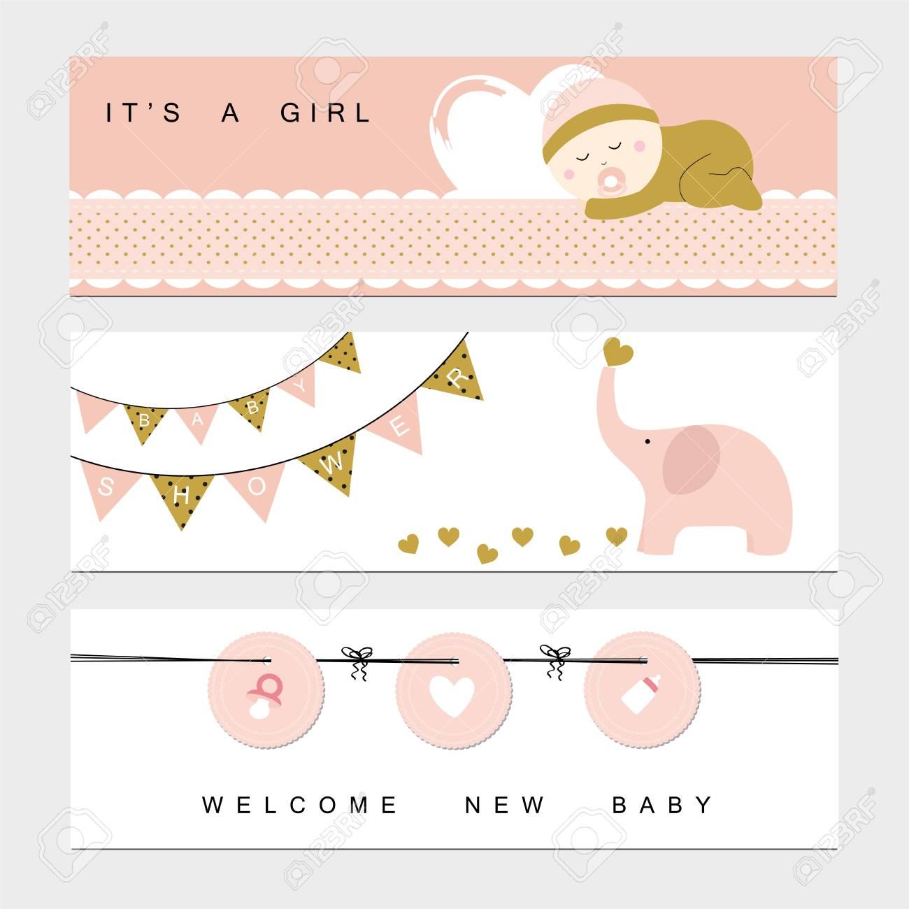 Baby Shower Banners For The Baby Girl Royalty Free Cliparts Vectors And Stock Illustration Image 74350967