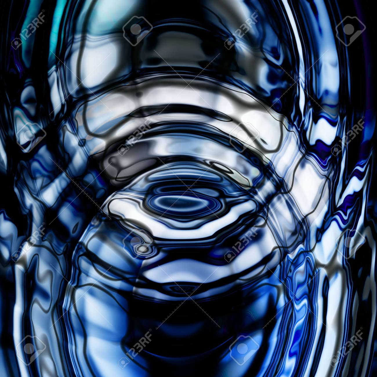 Concentric Blue Ripples in a calm pool of water - 532963